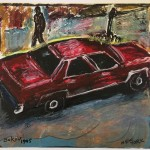 """Red Car"" 1995 Oil on paper 12.5""x 12.5"""