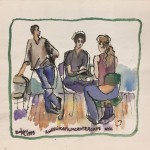"""Angelika Film Center Cafe""  watercolor on paper 16"" x 18"" 1999"