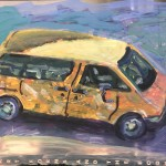 """Yellow Van"" mixed media 12"" x 10"","