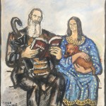 """Tolstoy and Mona Lisa"" oil stick on paper 16"" x 18"", 2006"