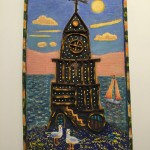 """Light house"" 2010 Oil stick and Oil painting on recycled material"