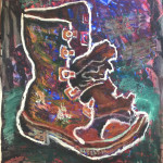 """Portrait of Shoe"" 1994 Oil stick on paper 19"" x 24"""