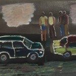 """Traffic"" 1998 acrylic on canvas 8.5"" x 23.5"""