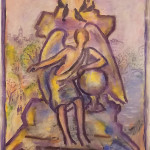 """Angel Statue"" oil stick on paper 16"" x 18"", 2008"