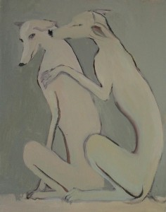 """Two Greyhounds, Oil on canvas, 11"""" x 14"""" 2015"""