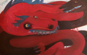 """Red Dragons, Oil on canvas, 9"""" x 14"""" ,  2012"""